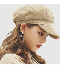 cappellino berretto ottagonale per berretto da donna in velluto a coste per esterno