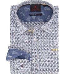 nza overhemd katikati wit blauw geprint