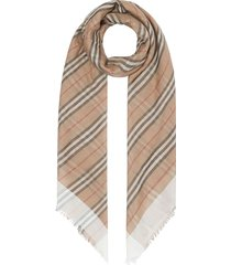 burberry icon stripe and vintage check wool silk scarf - neutrals