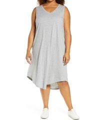plus size women's caslon shirttail tank dress, size 3x - grey