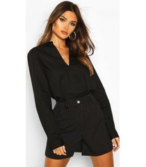 cotton v neck tailored collared blouse, black