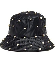 'mallorie' swarovski pearl embellished satin bucket hat