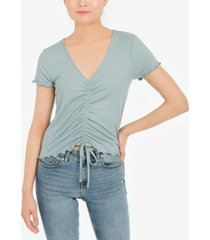 hippie rose juniors' ruched front lettuce trim top