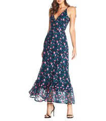 women's dress the population sunny embroidered floral tie shoulder gown, size medium - blue