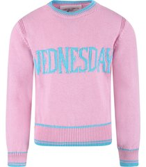 alberta ferretti pink girl sweater with light blue writing