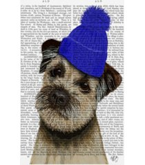 "fab funky border terrier with blue bobble hat canvas art - 27"" x 33.5"""
