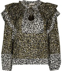 ulla johnson carissa leopard print blouse - green