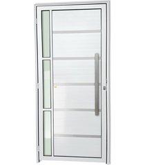 porta direita com lambri e puxador em alumínio super 25 miraggio 210x100cm branca