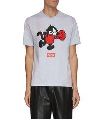 'boxer felix' pixelated 3d graphic tie dye cotton t-shirt