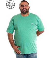 camiseta básica konciny manga curta plus size verde
