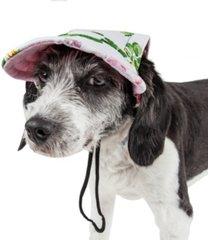 pet life 'botanic bark' floral uv protectant adjustable fashion dog hat cap