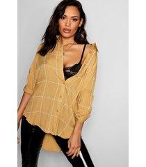 large grid oversized shirt, camel