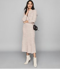 reiss skyla - knitted midi skirt in pink, womens, size xl