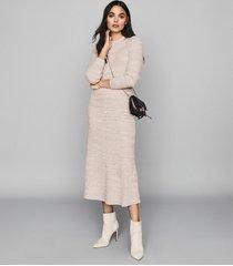 reiss skyla - knitted midi skirt in pink, womens, size xl