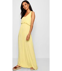petite bagged over racer back maxi dress, yellow