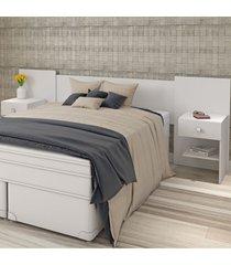 cabeceira casal com criado-mudo belgic 2 gavetas branco brilho - atualle móveis