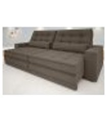 sofá silver 2,60m retrátil e reclinável velosuede marrom - netsofas