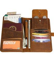 frizione vintage vera pelle passport long wallet borsa per uomo