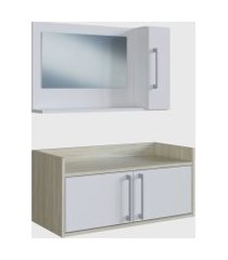 conjunto de balcáo e espelheira p/ banheiro akira branco e madeirado claro e estilare móveis