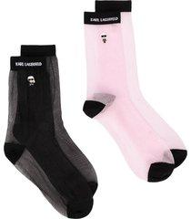 karl lagerfeld two pack k/ikonik transparent socks - black