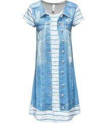 abito con stampa effetto jeans (blu) - rainbow