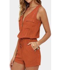 orange pocket diseño deep v cuello mono corto con cordón en la cintura
