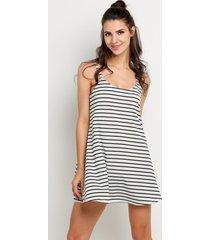 black&white women summer strap stripe mini shift casual dresses