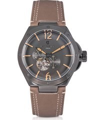 lancaster designer men's watches, space shuttle meccanico gunmetal stainless steel and natural nubuck men's watch