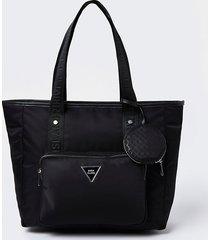 river island womens black ri nylon shopper bag with mini pouch
