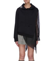deconstructed tulle mesh panel hoodie