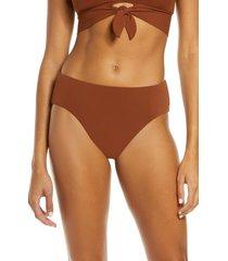 women's robin piccone ava high waist bikini bottoms, size x-small - brown