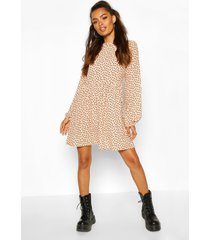 moon print mini dress with keyhole back, nude