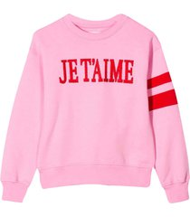 alberta ferretti pink sweatshirt with frontal embroidery