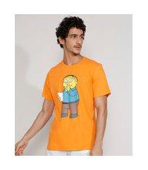 camiseta masculina manga curta gola careca ralph os simpsons laranja