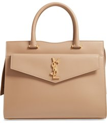 saint laurent medium uptown calfskin leather satchel - beige