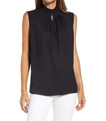 women's ming want pleated neck sleeveless blouse, size large - black