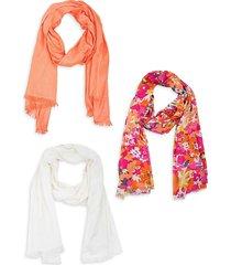 saachi women's 3-piece scarf set - coral
