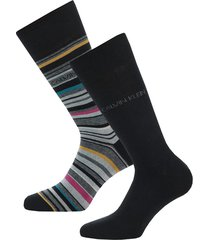 mens barcode stripe 2 pack socks