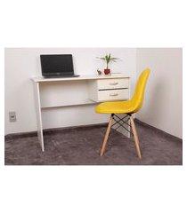 kit escrivaninha com gaveteiro branca + 01 cadeira eiffel botonê - amarela