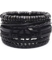 pulsera 4 manillas de cuero pacifista paz brazalete para mujeres y hombres color negro