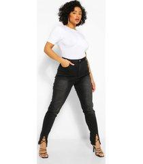 plus skinny fit spijkerbroek met voorsplit, zwart