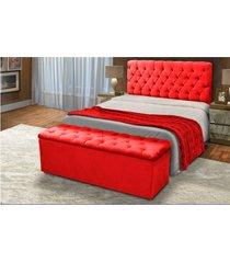 cabeceira mais calçadeira baú casal 140cm para cama box sofia suede vermelho - ds móveis