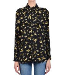 ganni floral shirt black