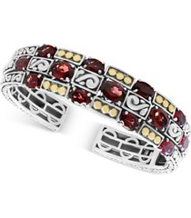 effy rhodolite garnet (14 ct. t.w.) cuff bangle bracelet in sterling silver & 18k gold