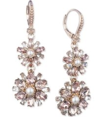 marchesa imitation pearl & crystal cluster double drop earrings
