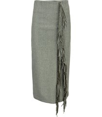 brunello cucinelli virgin wool flannel pencil skirt with fringes
