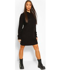 hooded knitted cropped dress, black