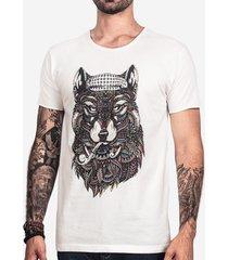 camiseta hermoso compadre ethnic wolf masculina