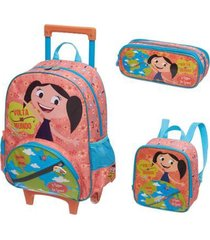 kit mochila com rodinhas o show da luna mundo com lancheira e estojo duplo feminina