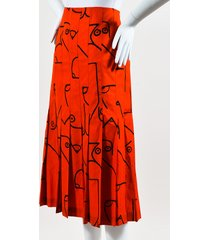 collection red & black cotton blend abstract print skirt